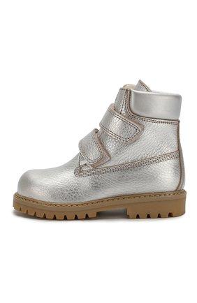 Детские кожаные ботинки с меховой отделкой GALLUCCI серебряного цвета, арт. J01074BM/TR S S G0M ALM/VIT | Фото 2