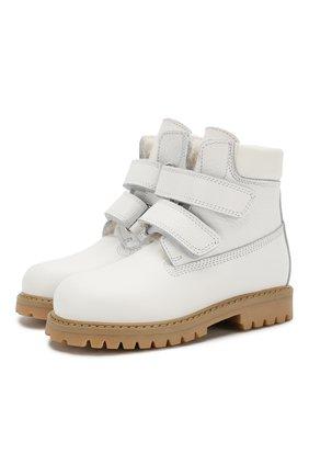 Детские кожаные ботинки с меховой отделкой GALLUCCI белого цвета, арт. J01074BM/TR S S G0M ALC/VIT | Фото 1