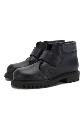 Детские кожаные ботинки с меховой отделкой GALLUCCI синего цвета, арт. J00234BM/SC S S G0M RAM/VIT | Фото 1