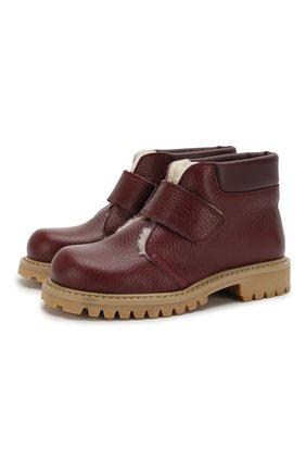 Детские кожаные ботинки с меховой отделкой GALLUCCI бордового цвета, арт. J00234BM/SC S S G0M ALC/VIT | Фото 1