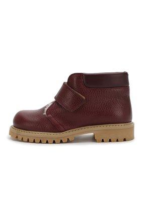 Детские кожаные ботинки с меховой отделкой GALLUCCI бордового цвета, арт. J00234BM/SC S S G0M ALC/VIT | Фото 2