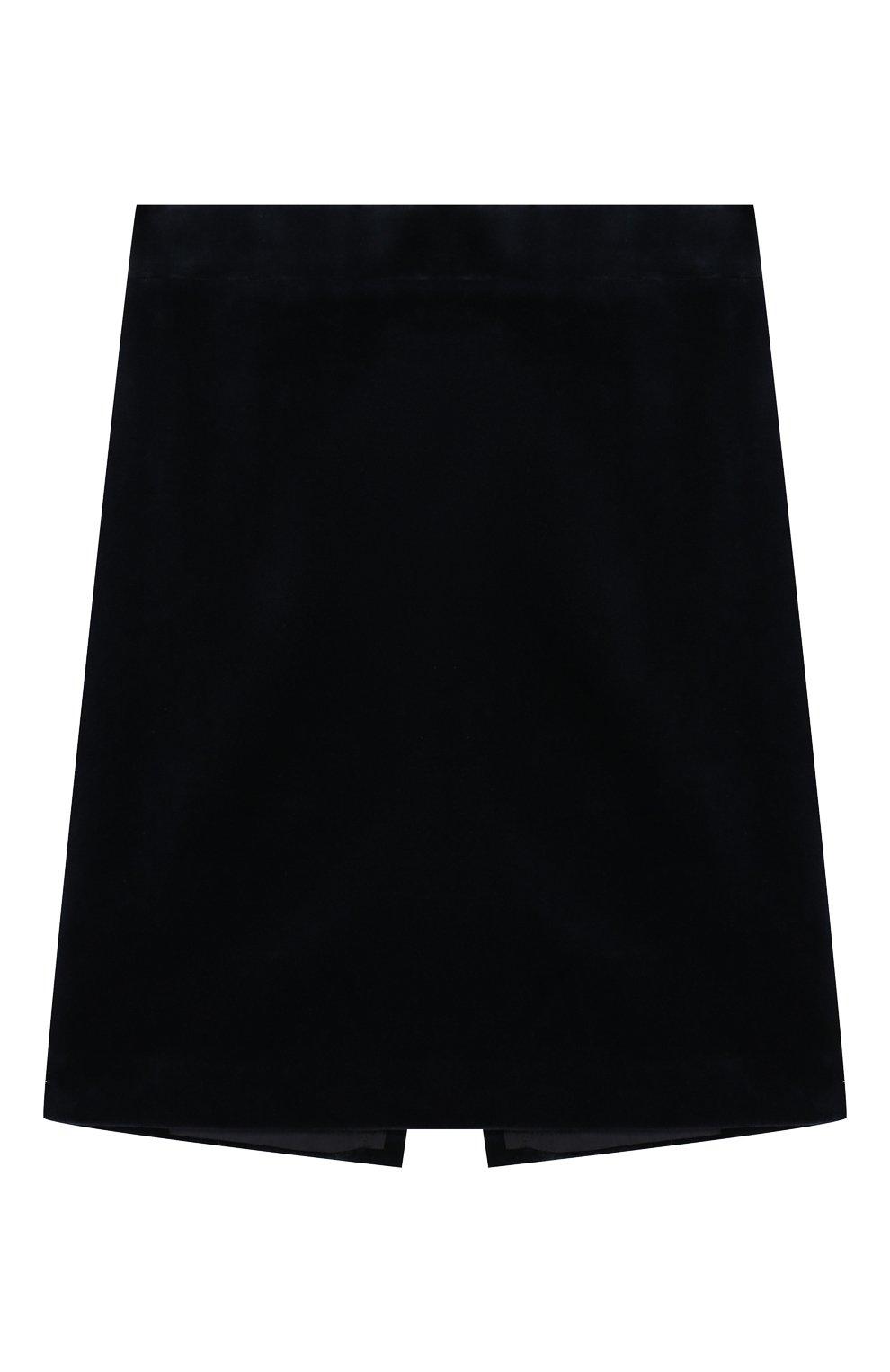 Детская бархатная юбка CAF синего цвета, арт. 53-VL-AI1819/6A-8A   Фото 1 (Случай: Повседневный; Материал внешний: Хлопок; Статус проверки: Проверено; Материал подклада: Вискоза; Ростовка одежда: 8 лет   128 см)