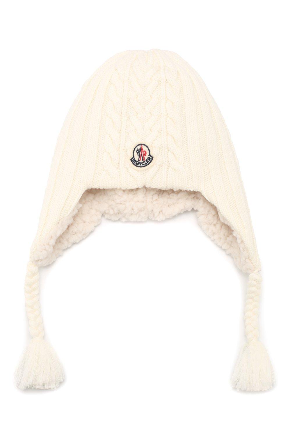 Детского шерстяная шапка MONCLER ENFANT белого цвета, арт. E2-951-99242-05-A9270 | Фото 1