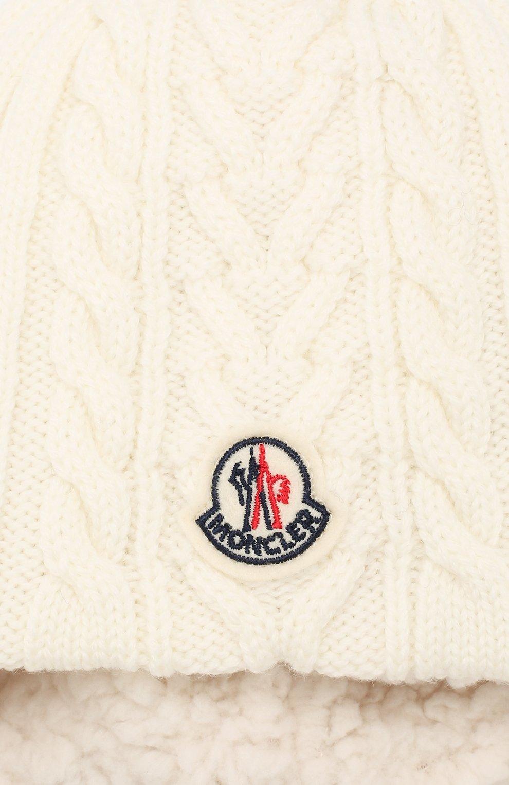 Детского шерстяная шапка MONCLER ENFANT белого цвета, арт. E2-951-99242-05-A9270 | Фото 3