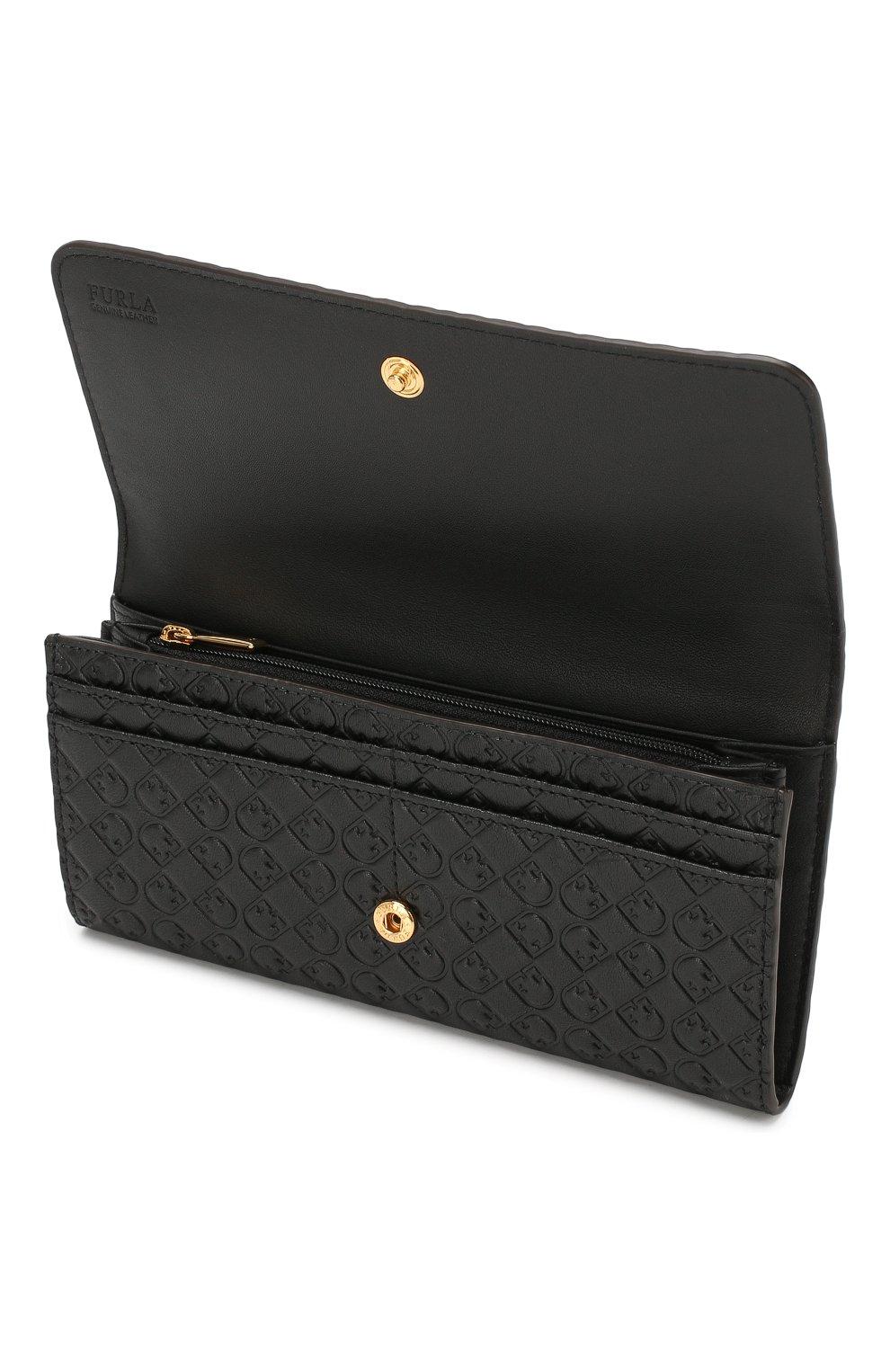 Женские кожаный кошелек FURLA черного цвета, арт. PCF5/R65 | Фото 3