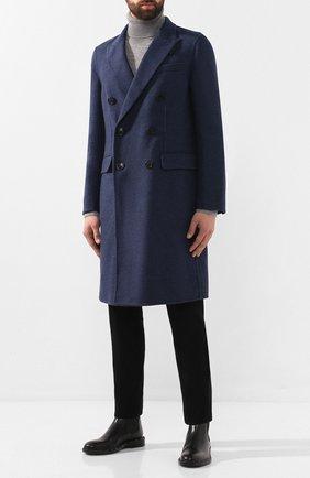 Мужской пальто из смеси шерсти и кашемира BURBERRY синего цвета, арт. 8015053   Фото 2