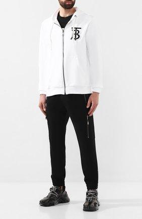 Мужская хлопковая толстовка BURBERRY белого цвета, арт. 8017260 | Фото 2