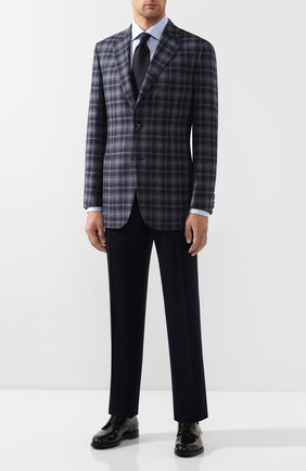 Мужской пиджак из смеси шерсти и шелка BRIONI синего цвета, арт. RGH00Q/08A7L/PARLAMENT0 | Фото 2