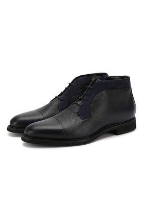 Мужские кожаные ботинки BARRETT темно-синего цвета, арт. 182U007.13/CERV0 ASP0RTABILE | Фото 1