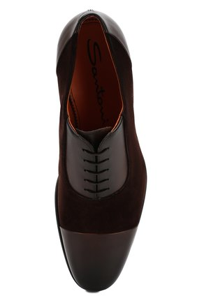 Мужские замшевые оксфорды SANTONI коричневого цвета, арт. MCAG16436BD1IVVUT47 | Фото 5