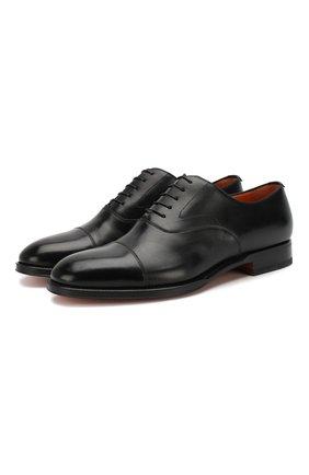 Мужские кожаные оксфорды SANTONI черного цвета, арт. MCRG04508JB2INENN01 | Фото 1
