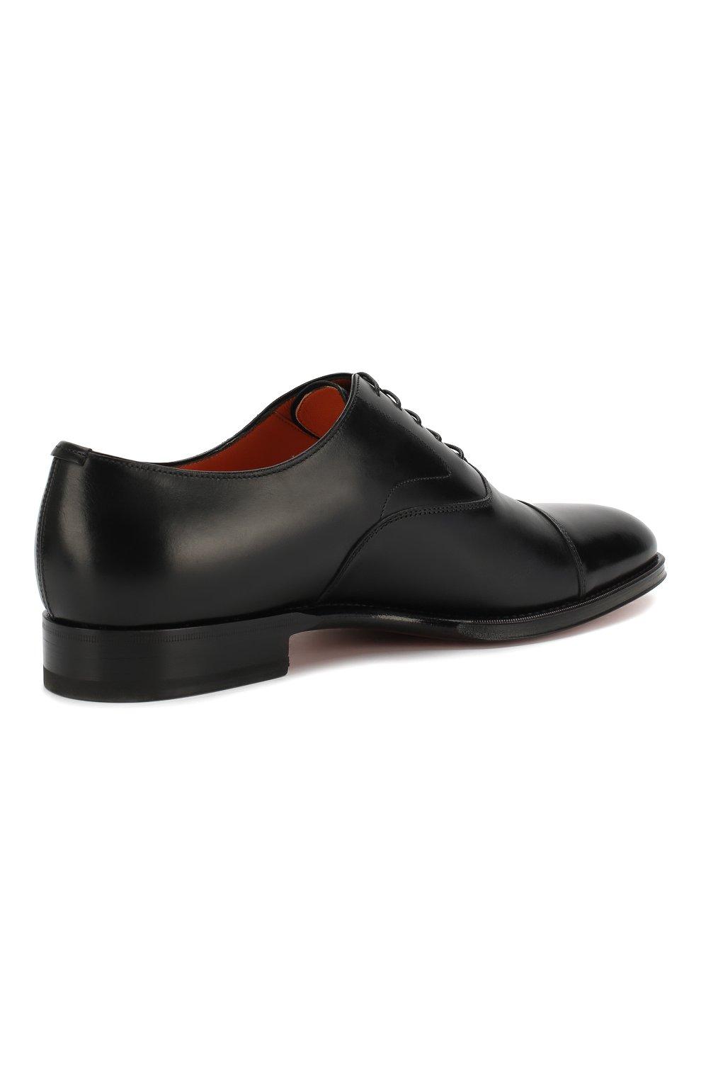 Мужские кожаные оксфорды SANTONI черного цвета, арт. MCRG04508JB2INENN01 | Фото 4
