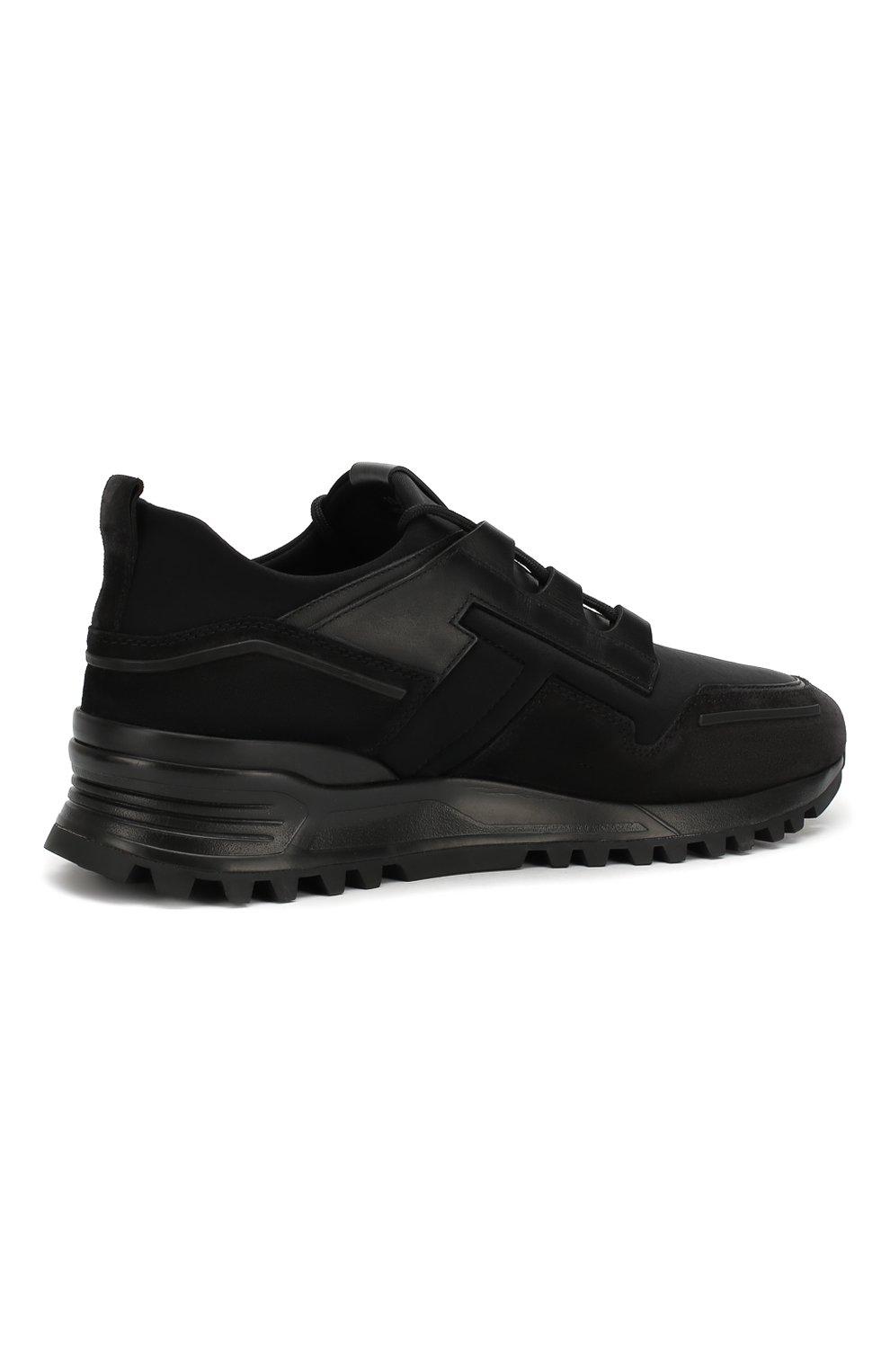 Мужские замшевые кроссовки TOD'S черного цвета, арт. XXM98B0BX60M7M | Фото 4