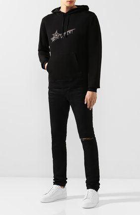 Мужской хлопковое худи SAINT LAURENT черного цвета, арт. 575525/YBJN2 | Фото 2