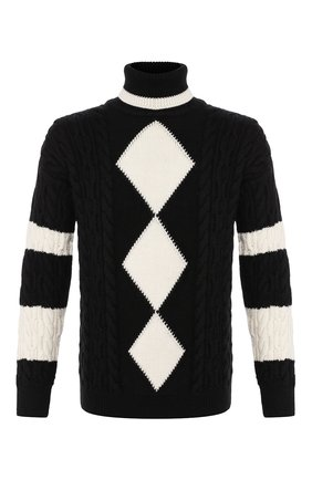 Мужской шерстяной свитер SAINT LAURENT черно-белого цвета, арт. 577691/YAGD2 | Фото 1
