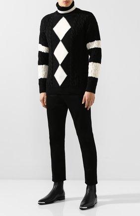 Мужской шерстяной свитер SAINT LAURENT черно-белого цвета, арт. 577691/YAGD2 | Фото 2