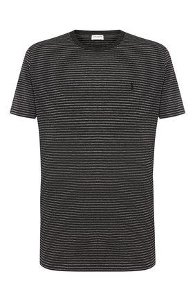Мужская хлопковая футболка SAINT LAURENT серого цвета, арт. 582196/YBIU2 | Фото 1