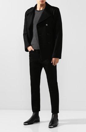 Мужская хлопковая футболка SAINT LAURENT серого цвета, арт. 582196/YBIU2 | Фото 2