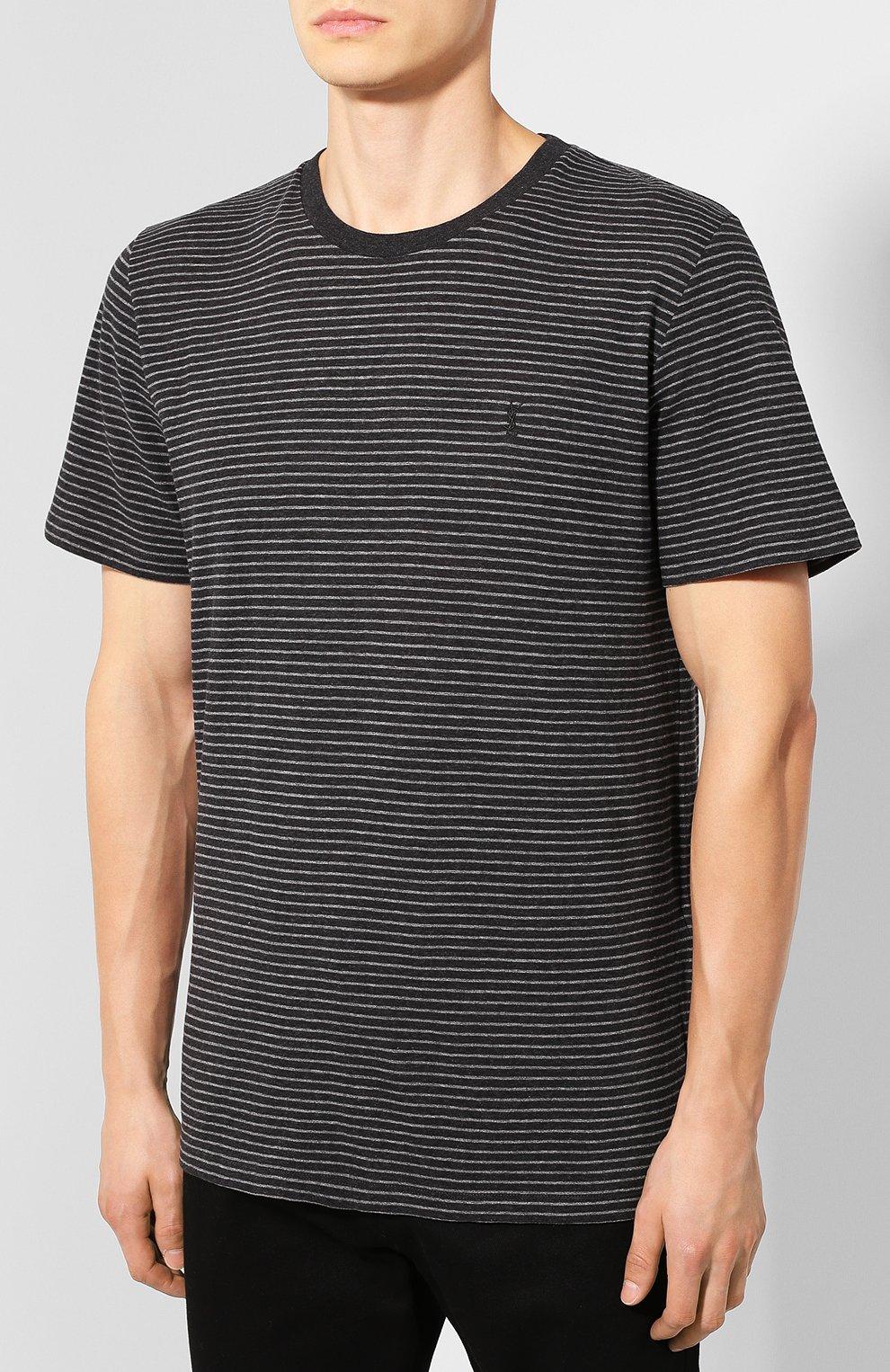 Мужская хлопковая футболка SAINT LAURENT серого цвета, арт. 582196/YBIU2 | Фото 3