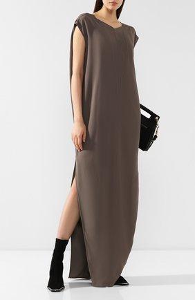 Женское платье-макси RICK OWENS серого цвета, арт. RP19F5506/HY   Фото 2