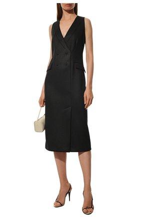 Женское платье GIORGIO ARMANI черного цвета, арт. 6GAA52/AJMJZ | Фото 2 (Длина Ж (юбки, платья, шорты): Миди; Материал внешний: Синтетический материал, Полиэстер; Рукава: Без рукавов; Статус проверки: Проверено, Проверена категория; Женское Кросс-КТ: платье-футляр; Случай: Формальный)