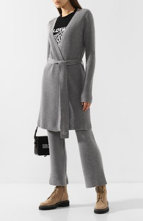 Женский кардиган из смеси шерсти и кашемира MARKUS LUPFER серого цвета, арт. KN2553 | Фото 2