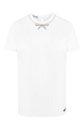 Женская хлопковая футболка MIU MIU белого цвета, арт. MJN137-1RE2-F0009   Фото 1