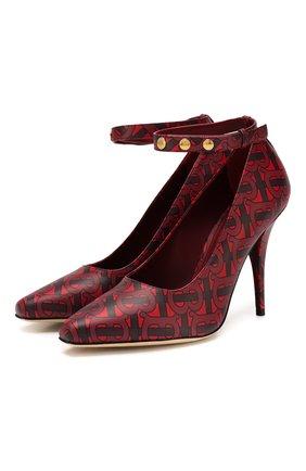 Женская кожаные туфли BURBERRY бордового цвета, арт. 8017185 | Фото 1