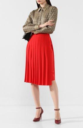 Женская кожаные туфли BURBERRY бордового цвета, арт. 8017185 | Фото 2