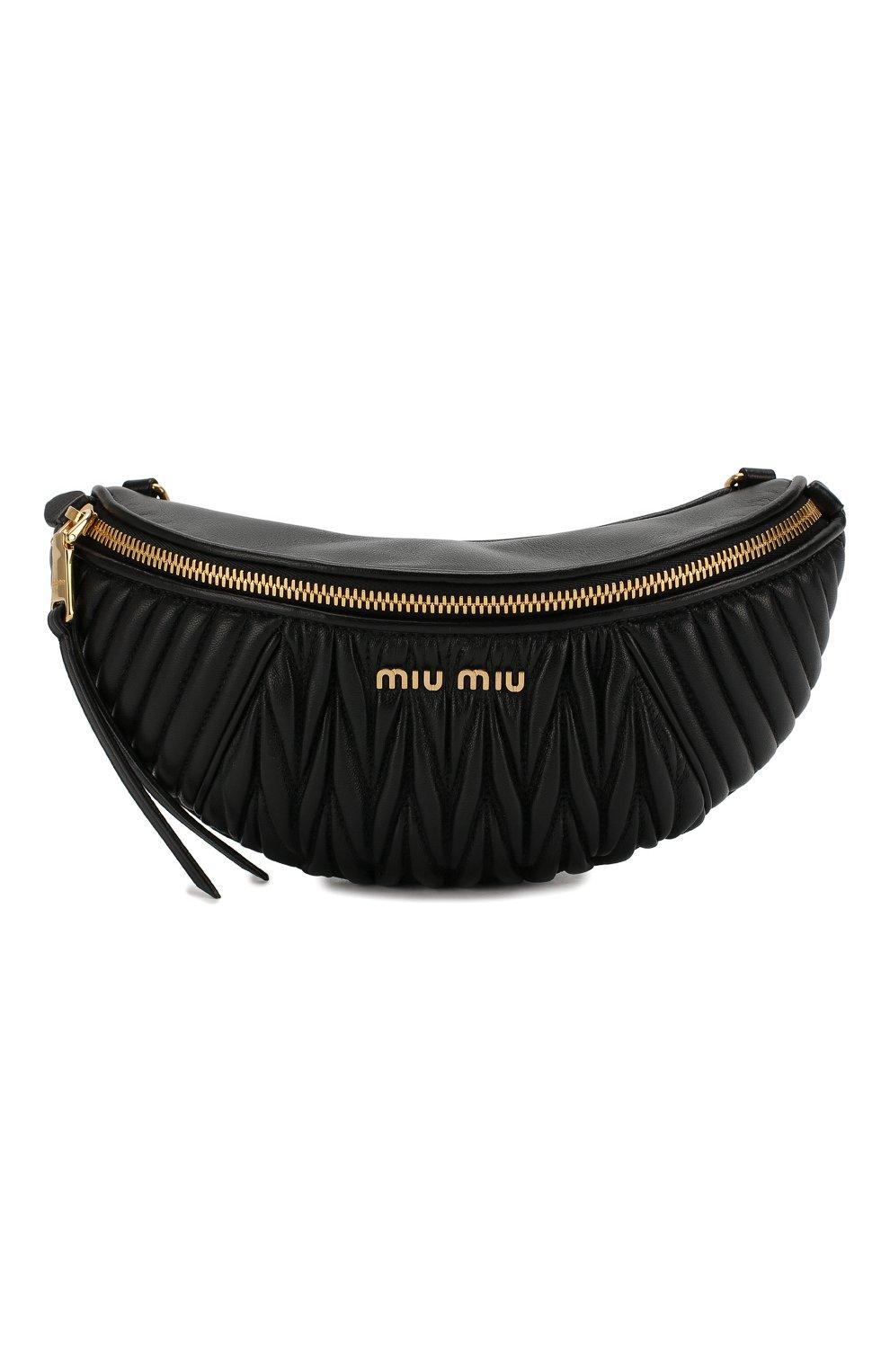 Женская поясная сумка MIU MIU черного цвета, арт. 5BL010-N88-F0002-OOO | Фото 1