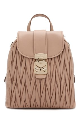 Женский рюкзак из кожи MIU MIU бежевого цвета, арт. 5BZ026-N88-F0770-OOO | Фото 1
