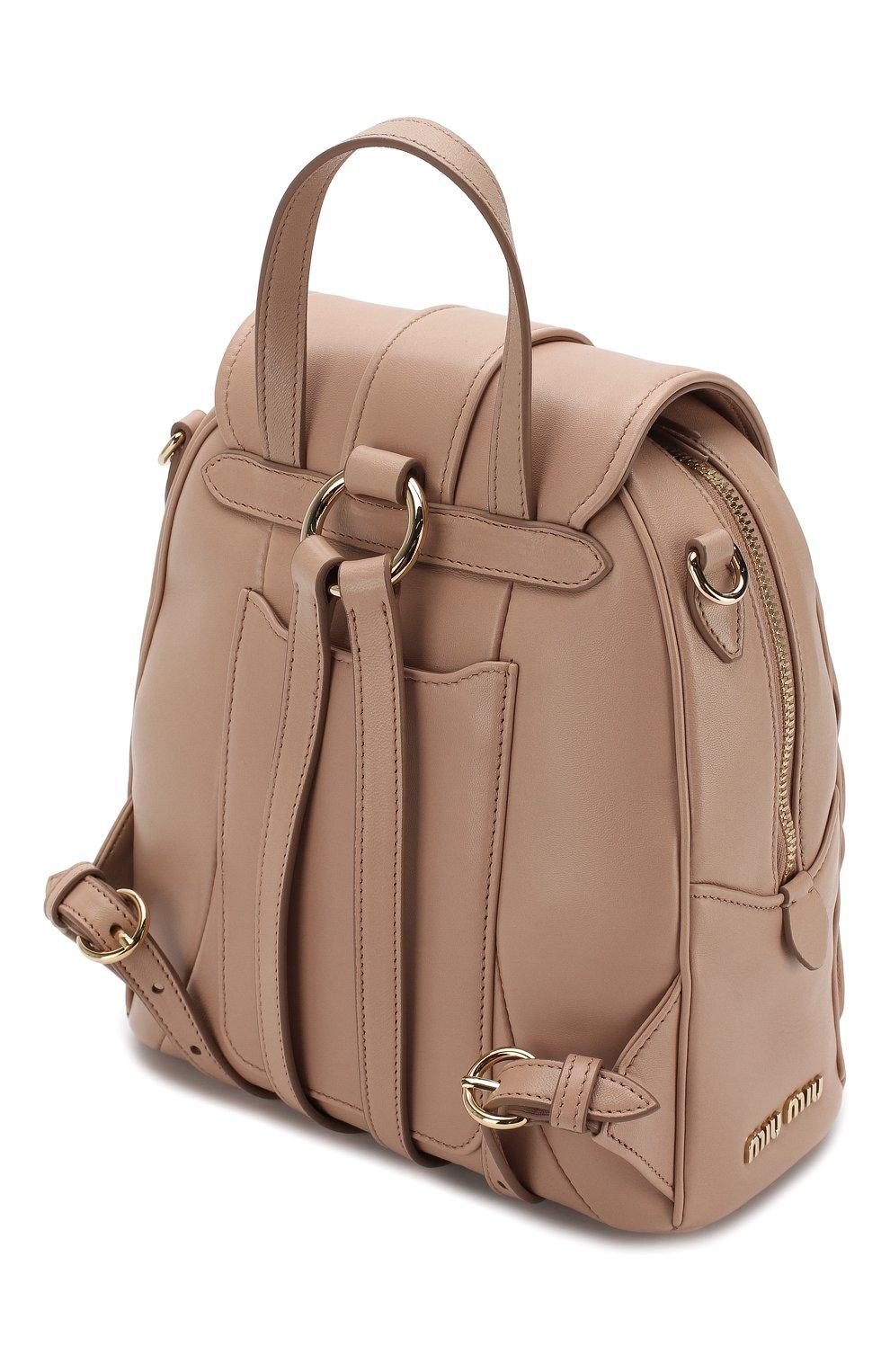 Женский рюкзак из кожи MIU MIU бежевого цвета, арт. 5BZ026-N88-F0770-OOO | Фото 3