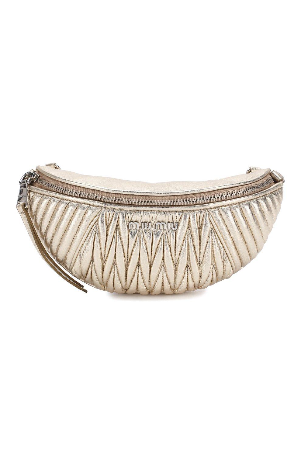 Женская поясная сумка  MIU MIU серебряного цвета, арт. 5BL010-N88-F0PLI-OOO | Фото 1