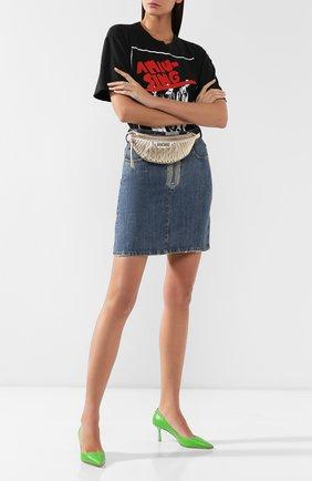 Женская поясная сумка  MIU MIU серебряного цвета, арт. 5BL010-N88-F0PLI-OOO | Фото 2