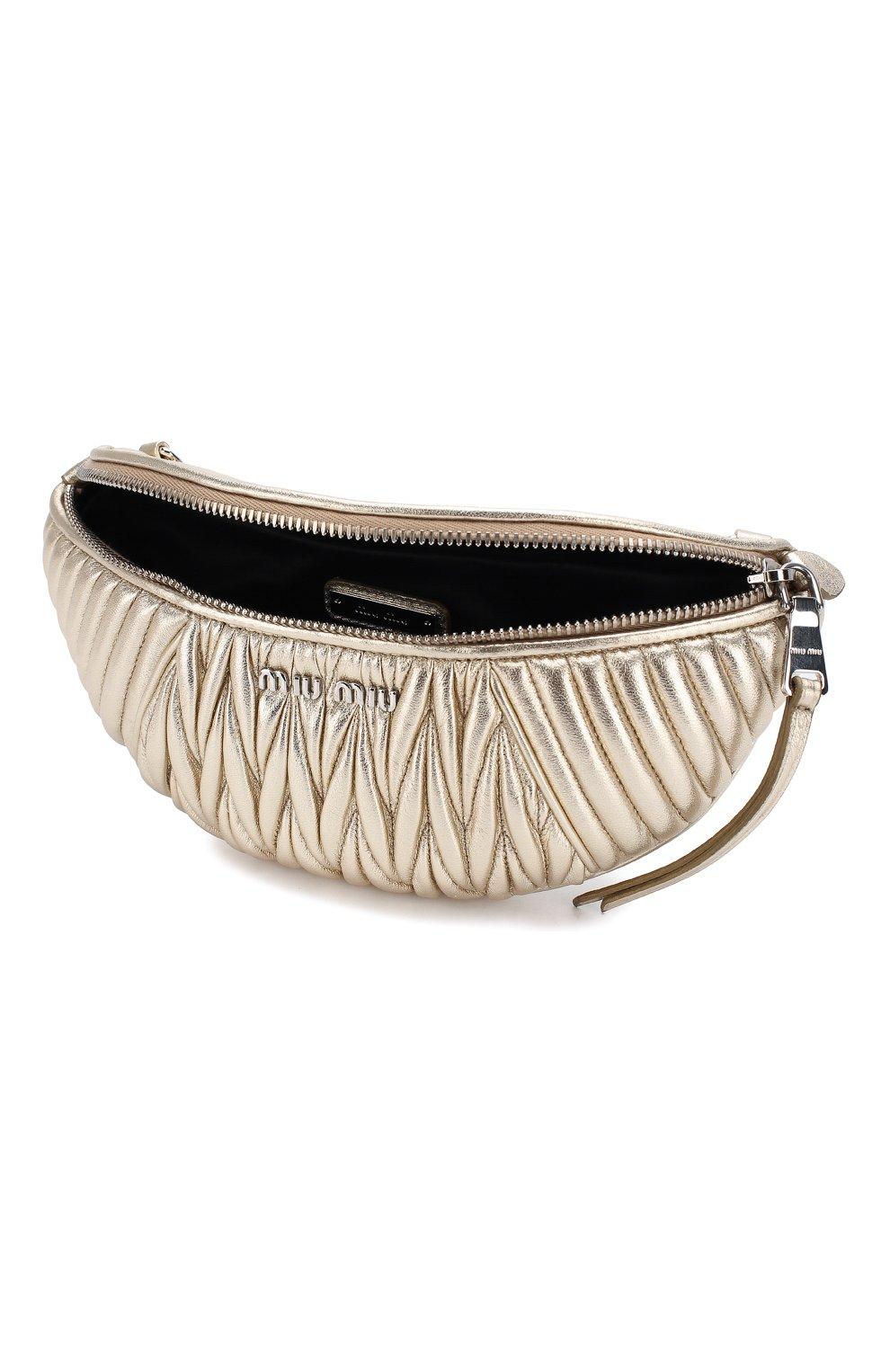 Женская поясная сумка  MIU MIU серебряного цвета, арт. 5BL010-N88-F0PLI-OOO | Фото 4