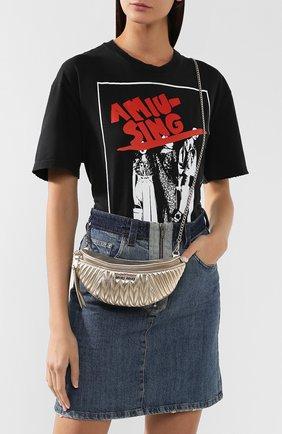 Женская поясная сумка  MIU MIU серебряного цвета, арт. 5BL010-N88-F0PLI-OOO | Фото 5
