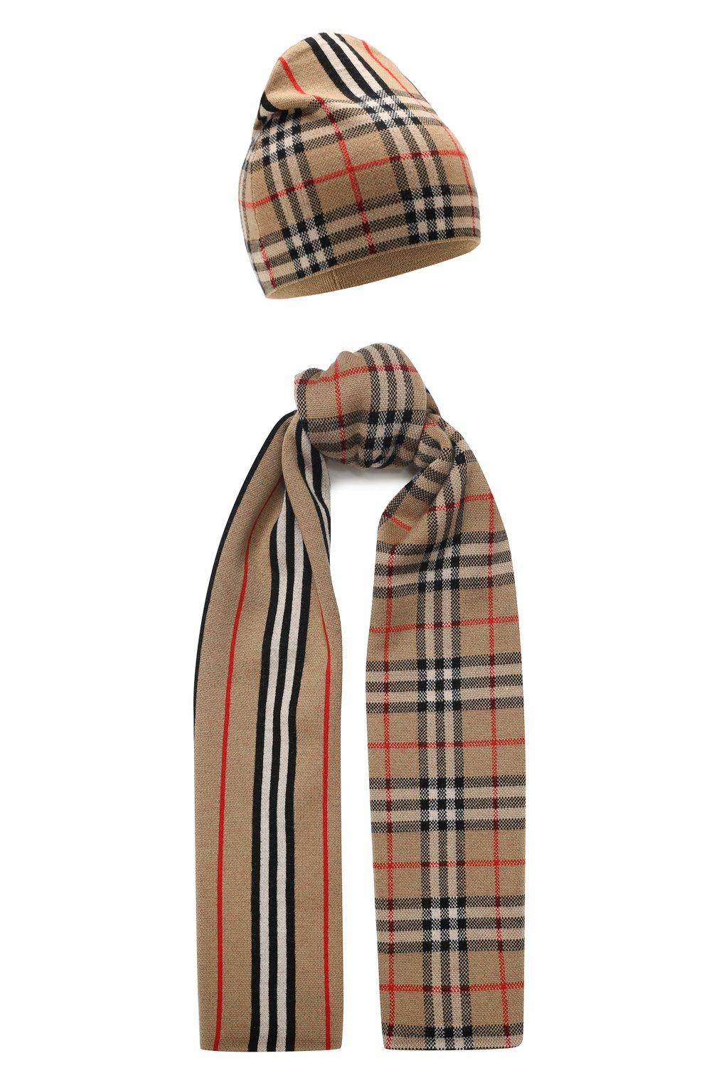 Детский комплект из шарфа и шапки BURBERRY разноцветного цвета, арт. 8014170   Фото 1 (Материал: Шерсть; Статус проверки: Проверено)