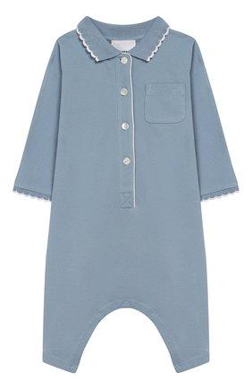 Детский хлопковый комбинезон BURBERRY голубого цвета, арт. 8013855 | Фото 1