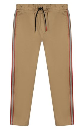 Детские хлопковые брюки BURBERRY бежевого цвета, арт. 8011559 | Фото 1