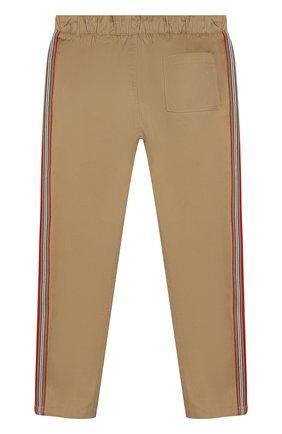 Детские хлопковые брюки BURBERRY бежевого цвета, арт. 8011559 | Фото 2