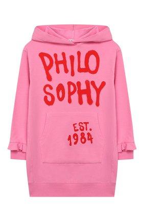 Детское хлопковое платье с капюшоном PHILOSOPHY DI LORENZO SERAFINI KIDS розового цвета, арт. PJAB31/FE147/UH006/XXS-XS   Фото 1