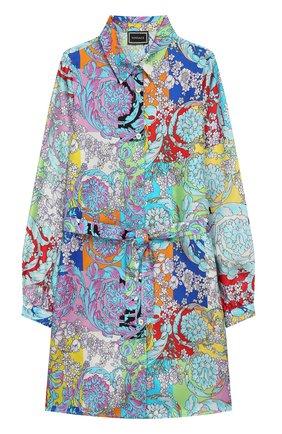 Шелковое платье-рубашка с поясом | Фото №1