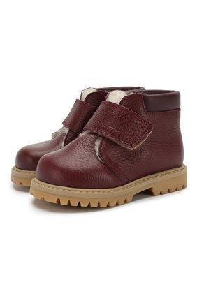 Детские кожаные ботинки с меховой отделкой GALLUCCI бордового цвета, арт. T00234BM/SC S S G0M ALC/VIT | Фото 1