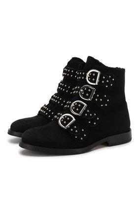 Детские кожаные ботинки с меховой отделкой GALLUCCI черного цвета, арт. J30064BM/TR S S CUG CAM | Фото 1