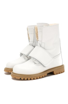 Детские кожаные ботинки с меховой отделкой GALLUCCI белого цвета, арт. J30060BM/TR S S G0M ALC | Фото 1