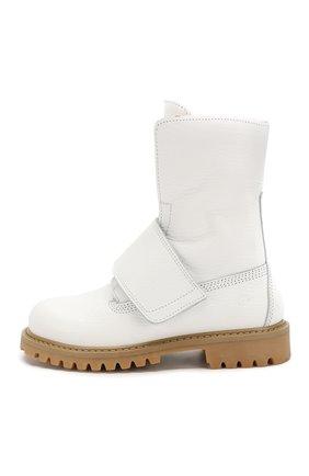 Детские кожаные ботинки с меховой отделкой GALLUCCI белого цвета, арт. J30060BM/TR S S G0M ALC | Фото 2