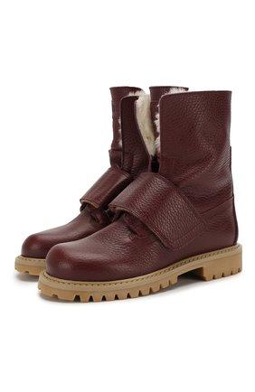 Детские кожаные ботинки с меховой отделкой GALLUCCI бордового цвета, арт. J30060BM/TR S S G0M ALC | Фото 1