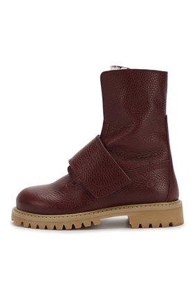 Детские кожаные ботинки с меховой отделкой GALLUCCI бордового цвета, арт. J30060BM/TR S S G0M ALC | Фото 2