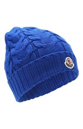 Детского шерстяная шапка MONCLER ENFANT голубого цвета, арт. E2-954-00110-05-04S02 | Фото 1