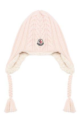 Детского шерстяная шапка MONCLER ENFANT светло-розового цвета, арт. E2-951-99242-05-A9270 | Фото 1